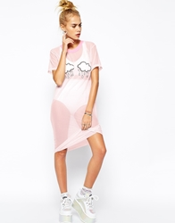The Ragged Priest Rain On Me Sheer Midi T Shirt Dress With Clouds Pink