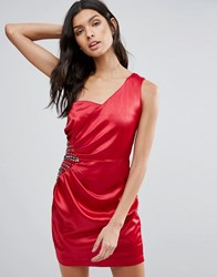 Pussycat London One Shoulder Dress With Embellished And Ruched Side Red
