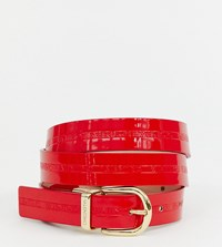 Valentino By Mario Valentino Patent Branded Belt In Red