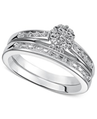 Macy's Round Cut Diamond Ring In Sterling Silver 1 4 Ct. T.W.