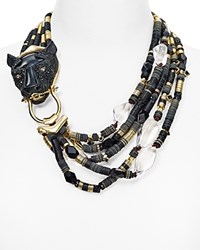 Alexis Bittar Coveteur Elements Pave Panther Bib Necklace 14 Black