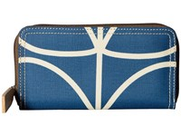 Orla Kiely Giant Linear Stem Big Zip Wallet Marine Wallet Handbags Blue