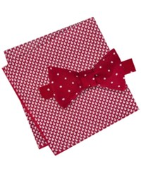 Tommy Hilfiger Men's Dot To Tie Bow Tie And Snowman Pocket Square Set Red