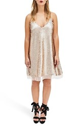 Elvi Plus Size Women's Nude Sequin Slipdress