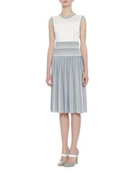 Bottega Veneta Sleeveless Striped Knit Dress Blue White Blue White