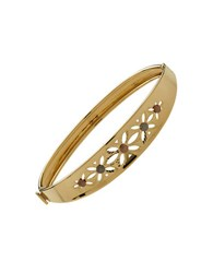 Lord And Taylor 14K Yellow Gold Floral Cutout Bangle Bracelet