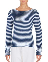 Eileen Fisher Petite Striped Boatneck T Shirt Denim
