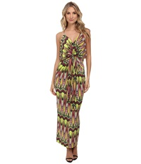 Tbags Los Angeles Spaghetti Strap Deep V Maxi Dress With Front Tie Lime Yellow Pink Women's Dress Multi