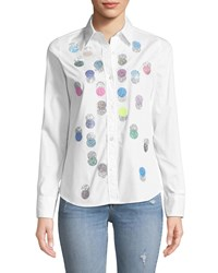 Libertine Button Front Collared Multicolor Beaded Dots Cotton Shirt White