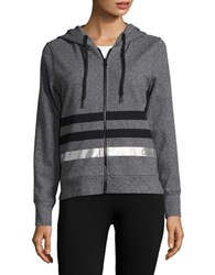Calvin Klein Metallic Striped Hoodie Black Heather