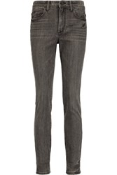 Helmut Lang Mid Rise Distressed Skinny Jeans Gray