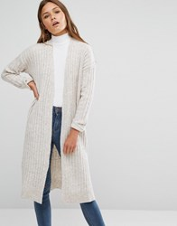 New Look Ribbed Longline Cardigan Oatmeal Beige