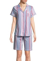 Karen Neuburger Bermuda Stripe Pajamas Blue Stripe