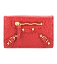 Balenciaga Classic Card Case Leather Wallet Red