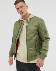 Soul Star Bomber Ma1 Jacket In Khaki Green