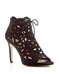 Via Spiga Oria Cutout Lace Up Open Toe High Heel Booties Black