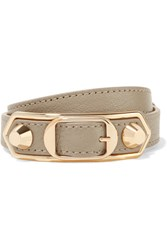 Balenciaga Metallic Edge Textured Leather And Gold Tone Bracelet Beige