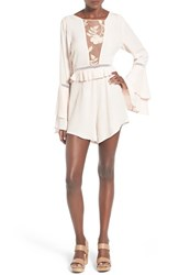 Women's For Love And Lemons 'Emelia' Mesh Inset Bell Sleeve Romper