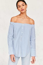 Silence And Noise Cuff Sleeve Off The Shoulder Top Blue Multi
