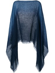Destin Gradient Knitted Poncho Blue