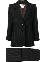 Yves Saint Laurent Vintage Pinstriped Skirt Suit Black