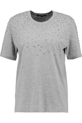 Markus Lupfer Alex Crystal Embellished Cotton Blend Jersey T Shirt Gray