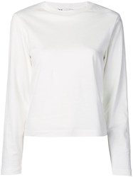 Y 3 Long Sleeve Graphic Print Top White