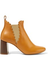 Chloe Scalloped Leather Ankle Boots Camel