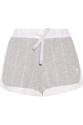Adidas Originals Ripstop Trimmed Striped Stretch Jersey Shorts Gray