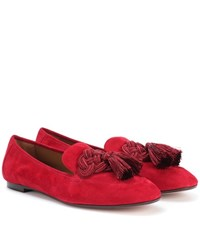 Aquazzura Embellished Suede Loafers Red