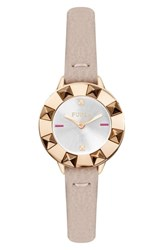 Furla Club Leather Strap Watch 26Mm Pink White Silver Rose Gold