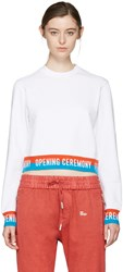 Opening Ceremony White Cropped Elastic Logo Pullover