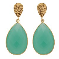 Carousel Jewels Double Drop Aqua Chalcedony And Golden Nugget Earrings Blue Gold