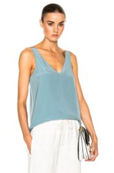 Tibi V Neck Silk Cami In Blue