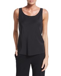 Lafayette 148 New York Charmeuse Silk Bias Tank Black
