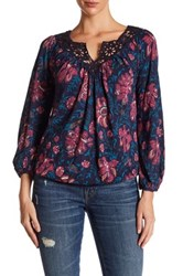 Lucky Brand Katie Floral Peasant Blouse Multi