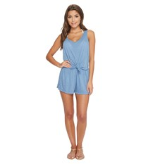 f972605d65f56 By Rebecca Virtue Breezy Basic Knot Romper Cover Up Steel Jumpsuit And  Rompers One Piece Silver
