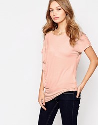 Vila T Shirt With Side Draping Pink Sand