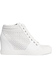 Dkny Cindy Leather Wedge Sneakers White