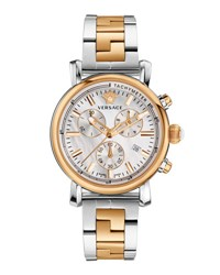 Versace 38Mm Day Glam Two Tone Chronograph Watch Silver Golden