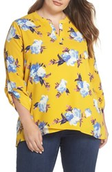 Gibson Plus Size Women's X Living In Yellow Erin Crossover Tunic Yellow Floral Print