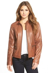Petite Women's Bernardo 'Kirwin' Zip Front Leather Jacket Cinnamon