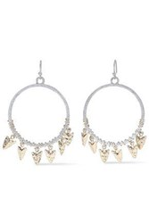Kenneth Jay Lane Woman 22 Karat Gold And Rhodium Plated Earrings Silver