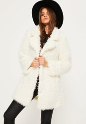 Missguided White Shaggy Faux Fur Coat