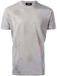 Dsquared2 Microstudded Distressed T Shirt Metallic