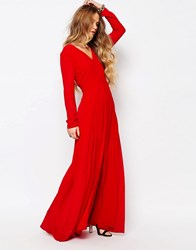 Glamorous Lace Overlay Maxi Dress Deep Red