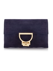 Coccinelle Arlettis Suede Purple Small Chain Clutch Purple