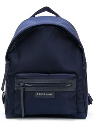 Longchamp Top Zipped Backpack Blue