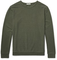 Onia Owen Terry Panelled Tretch Cotton Blend T Hirt Army Green