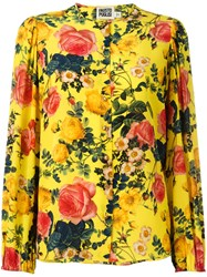 Fausto Puglisi Floral Print Blouse Yellow Orange
